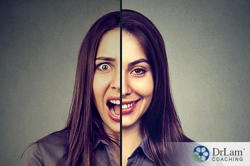 A split image of a woman's face, half is happy the other half is yelling