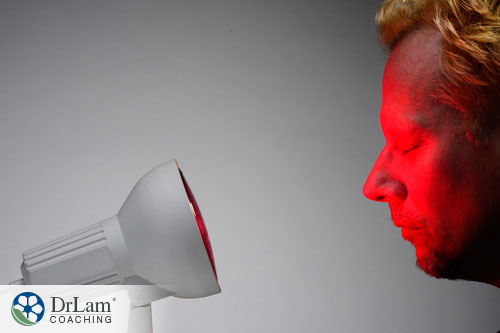 An image of a man getting red light therapy