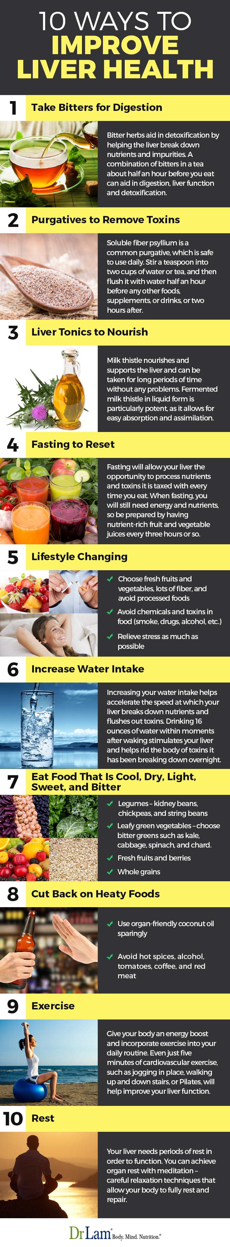 Check out this easy to understand infographic about the 10 ways to improve liver health