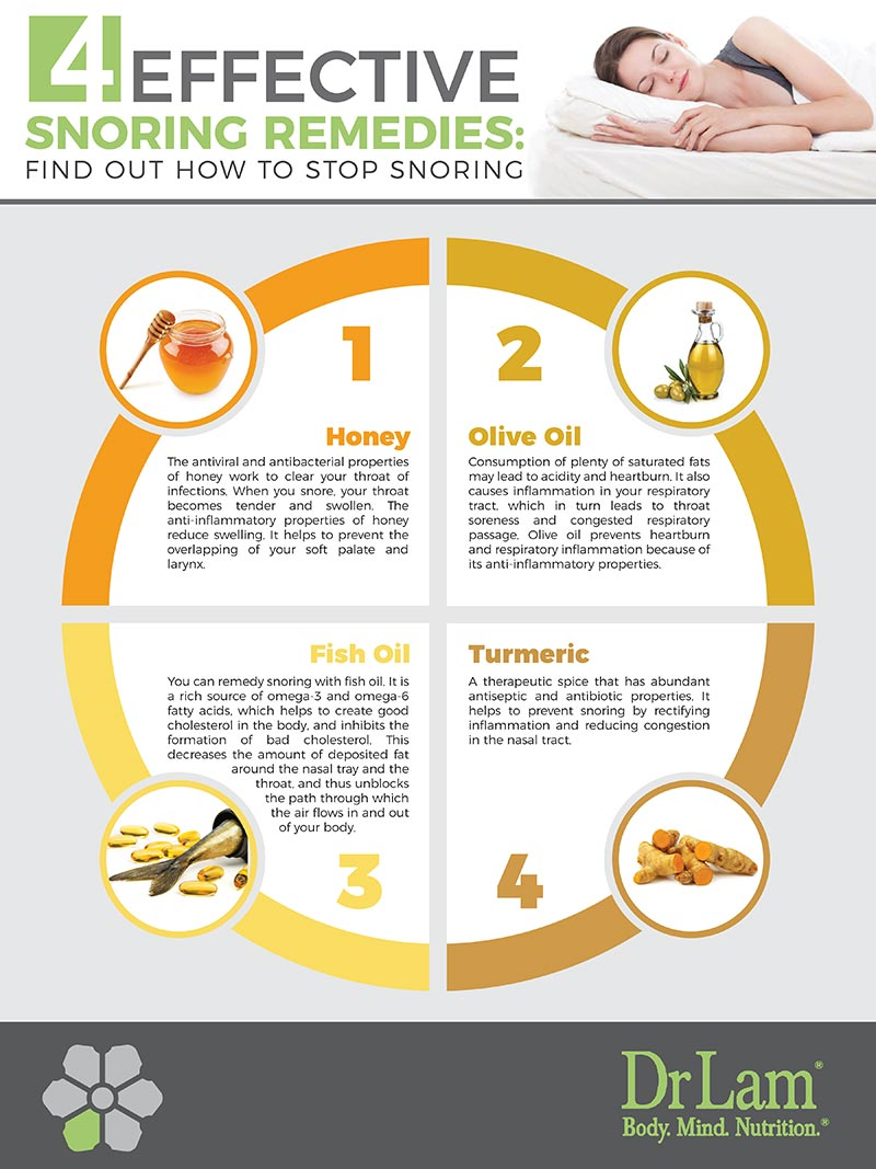Check out this easy to understand infographic about 4 effective snoring remedies