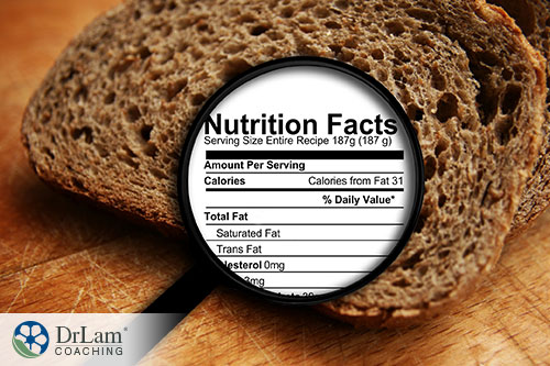 An image of a slice of bread with a magnified nutrition facts