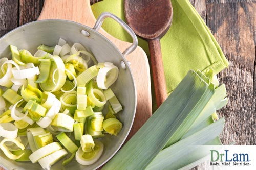 leeks being used in the recipe