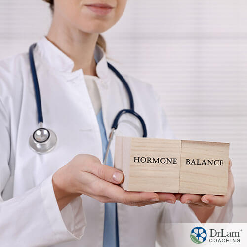 a great presentation of the word hormonal balance with the doctor holding it in a background