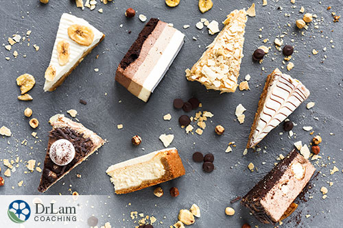 An image of 7 slices of cakes and pies with bits of chocolate chips and banana scattered around them