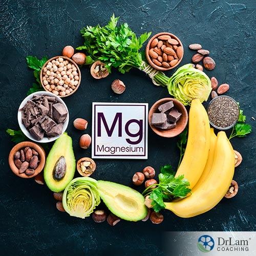 An image of magnesium rich foods arranged in a circle around a sign for magnesium