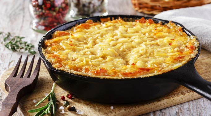 Hash brown and chicken used in this casserole