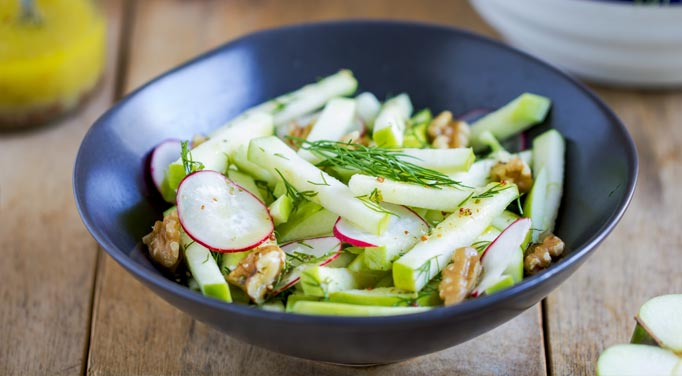 Walnuts and apples are a delicious part of this salad