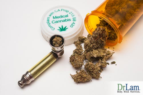 A container and pipe with medical cannabis