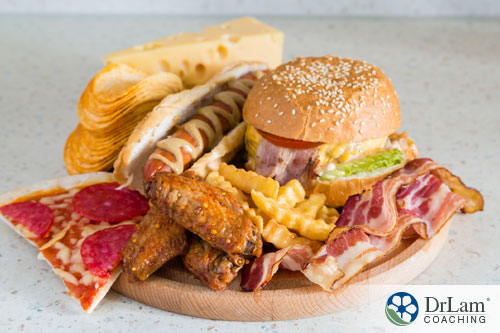 An image of a plate full of unhealthy food