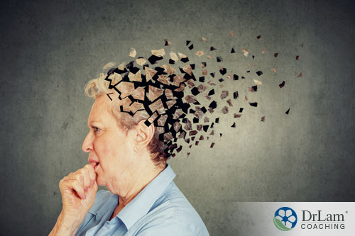 Am image of a older woman whose head seems to be particles floating away