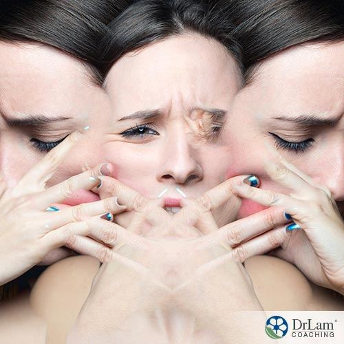 An image of a woman's face fading in-between moods
