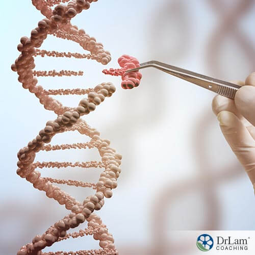 An image of a DNA double helix with a piece being replaced by a someone holding tweezers