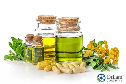 An image of various herbs, oils and supplements