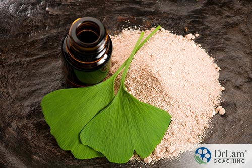 An image of ginkgo biloba leaves, powder and essential oil