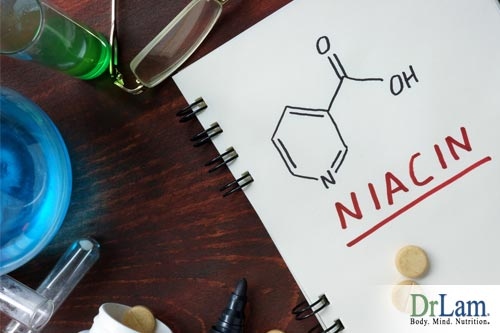 Depiction of niacin chemical structure and a niacin supplement. Niacin contributes to vitamin B complex benefits.