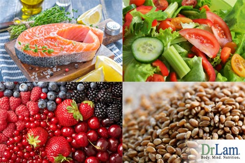 Several images of food including salmon, vegetables, fruits and nuts, all part of the nordic diet