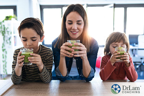 An image of a mother and her two children at the table drinking detoxifying green smoothies