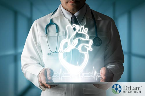 An image of a doctor with a heart on his lab coat