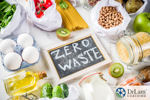 An image of a sign saying zero waste surrounded by food