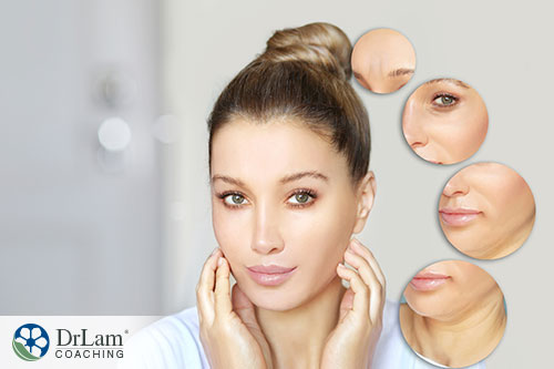 An image of a woman's face and small images of the stages of her ageing face