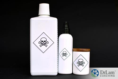 An image of 3 white bottles with skull and crossbones on the front