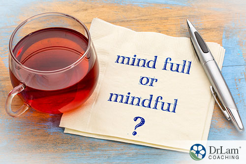 image showing the word mind full and mindful written in a note with a glass of wine