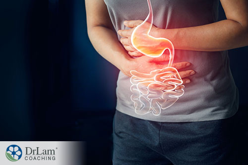 person suffering a pain from digestive track infection or diarrhea
