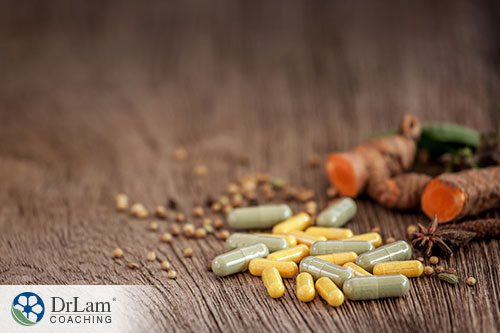 image of a capsule generated from herbs that serves as supplement