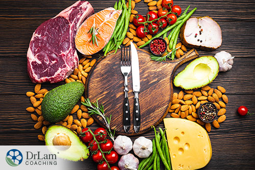 An image of a cutting board surrounded by meats, nuts, vegetables and herbs
