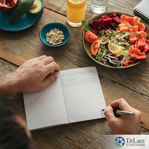 An image of a man planning his meals out in a notebook