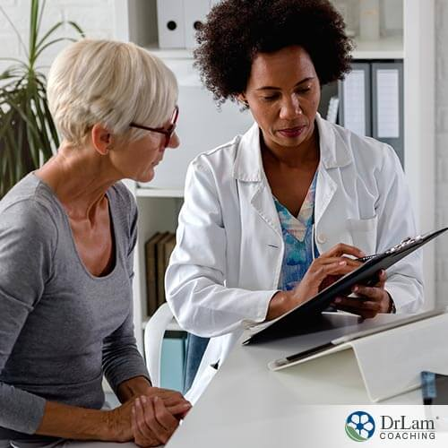 An image of a woman talking with her doctor