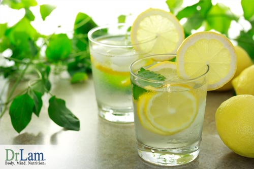 Dr Lam Adrenal Fatigue diet suggests drinking lots of water. Try this lemon water today